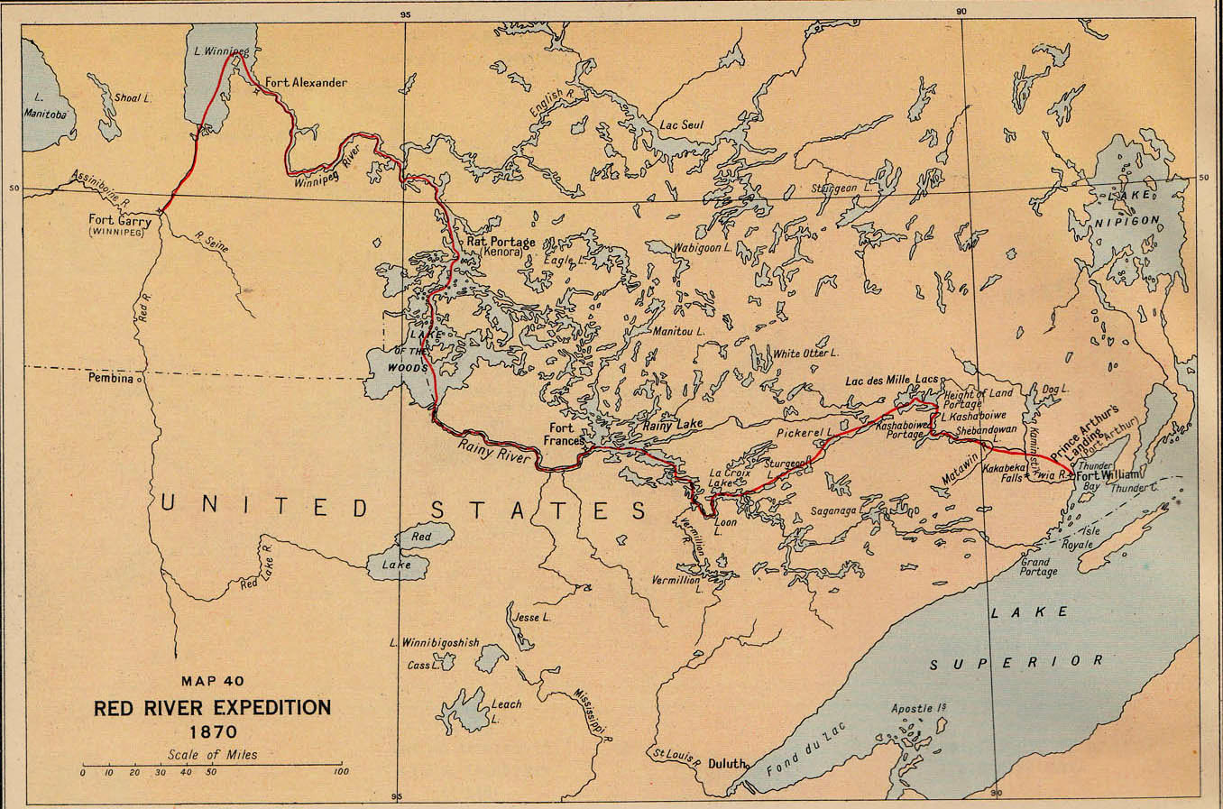 Mapa de l'expedició al Riu Vermell (1870). Procedent de Lawrence J. Burpee, editor; An Historical Atlas of Canadà, Toronto, Thomas Nelson and Sons, 1927.